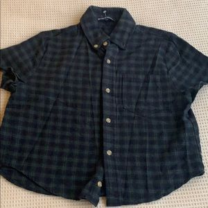 Brandy Melville Navy/ green plaid cropped shirt-S